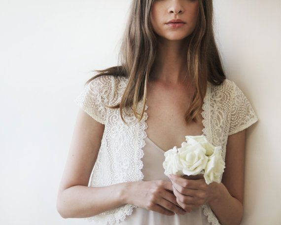 Bridal lace short sleeves bolero Ivory bridal open by BLUSHFASHION