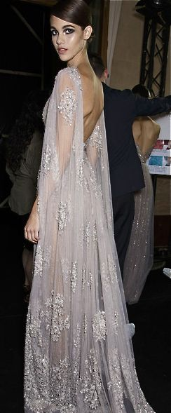Elie Saab dress featuring backless draping and embellishment