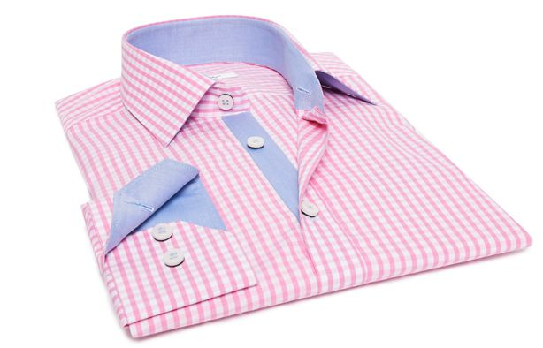 Chemise homme à petits carreaux rose doublure bleue, Chemises cintrées - Chemise Homme