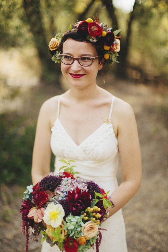 dahlia ranunculus poppies and succulent bridal bouquet | photo by Matthew Morgan | 100 Layer Cake | Bride in BHLDN
