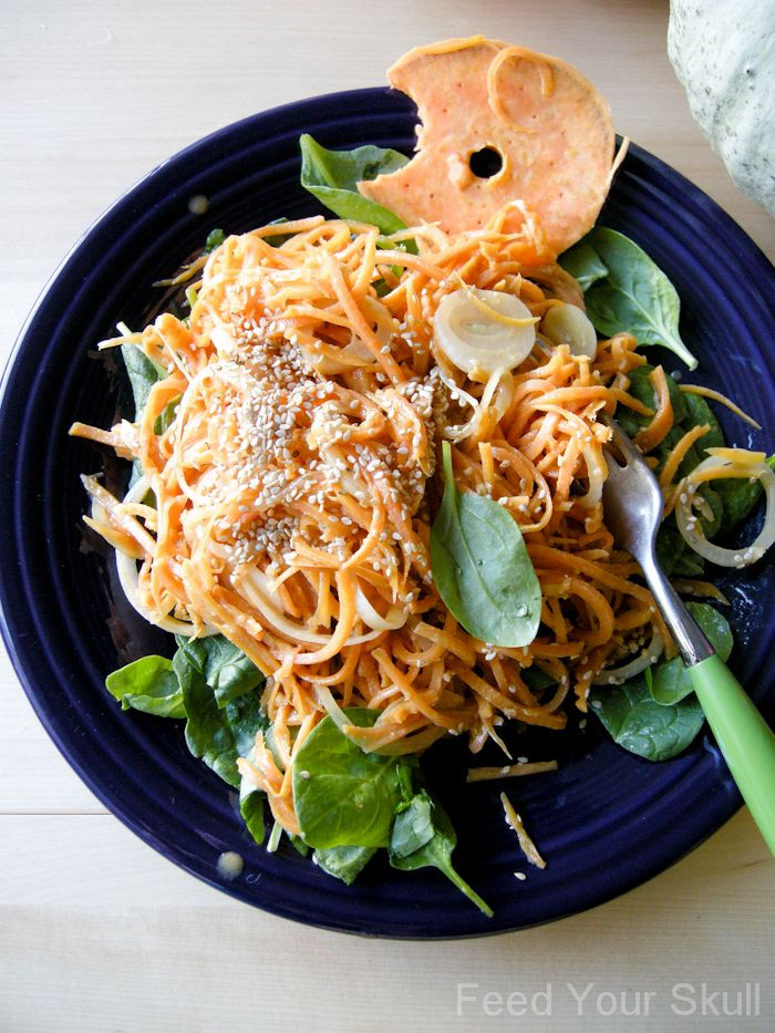 Sweet Potato Noodles with a Miso Garlic Sauce  (interesting method of soaking the raw sweet potato noodles with a bath of boiling water for 20 min or so)