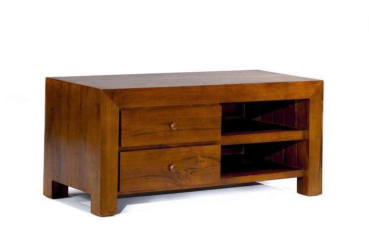 Buffet tv basic minimalis 2 laci kiri dan rak terbuka kanan terbuat dari kayu jati