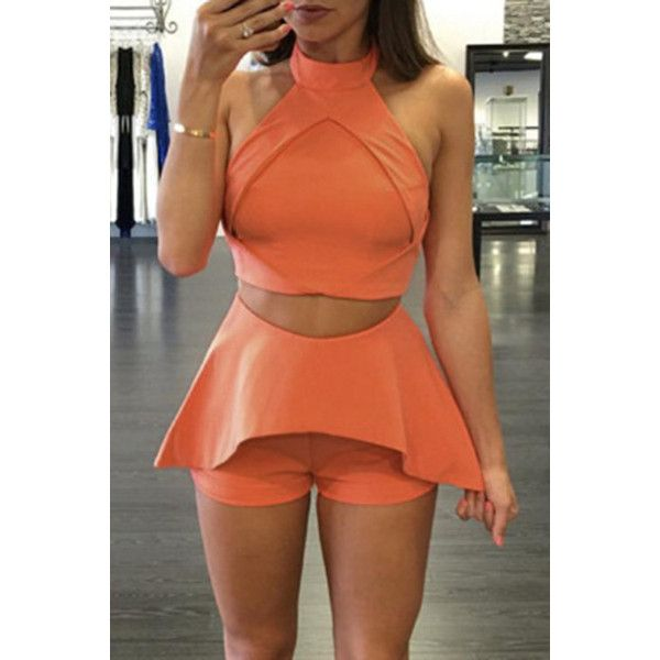 Yoins Orange Crop Top & Shorts Gym Outfits ($21) ❤ liked on Polyvore featuring orange