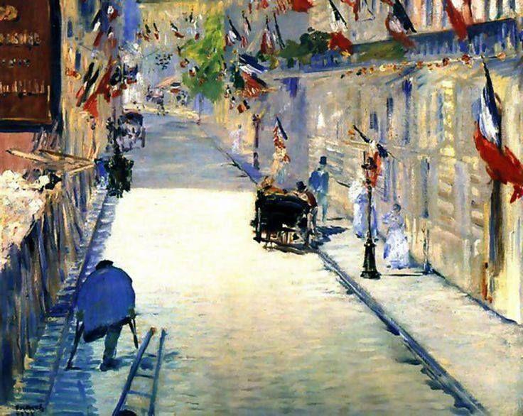 Manet - La Rue de Mosnier with Flags