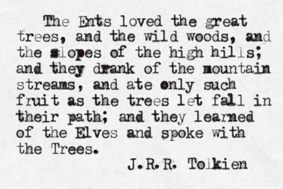 The Ents loved the great trees, and the wild woods, and the slopes of the high hills; and they drank of the mountain streams, and ate only such fruit as the trees let fall in their path; and they learned of the Elves and spoke with the Trees. - JRR Tolkien #lotr #quotes