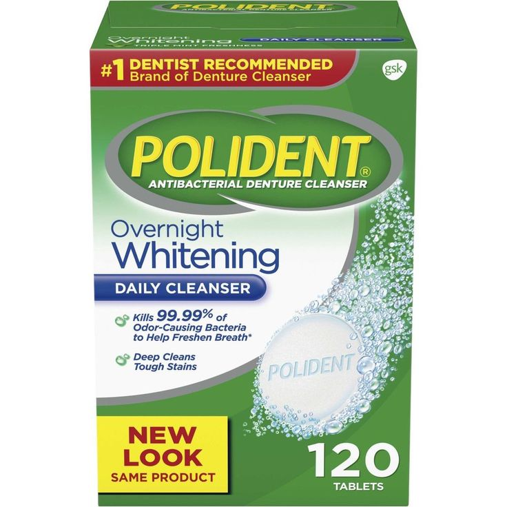 Polident Overnight Whitening Antibacterial Cleanser Effervescent Tablets 120 Pcs #Polident
