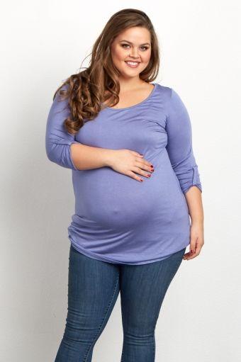 Lavender Basic 3/4 Sleeve Plus Maternity Tunic