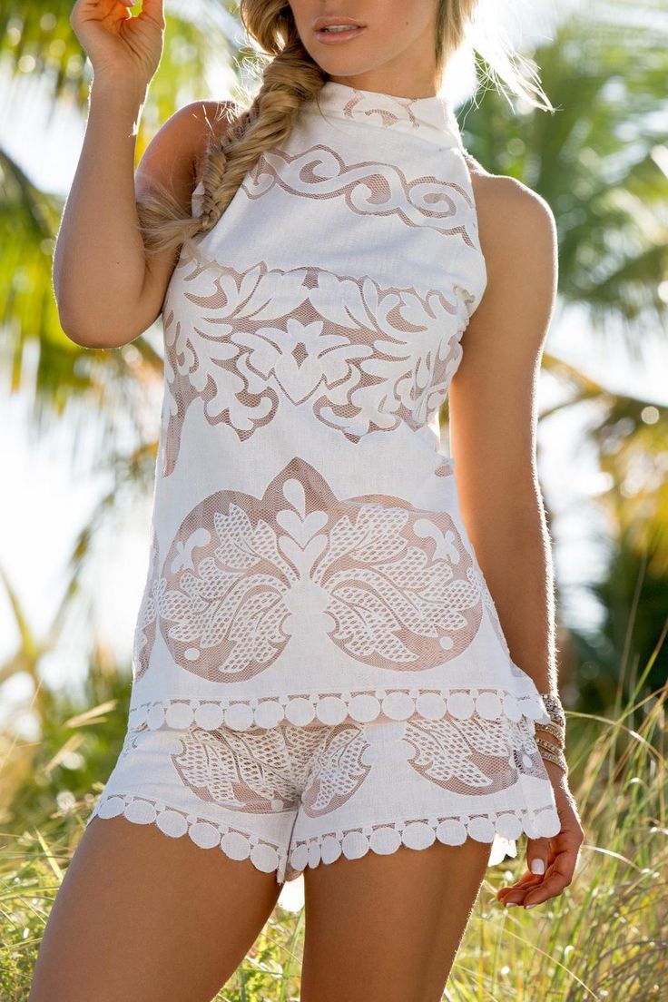 Delicate and detailed the Iris tunic and shorts are a favorite for summer. This delicate sleeveless lace tunic features a high neckline to show off your sun kissed shoulders.   Delicate And Detailed Set by Union of Angels. Clothing - Matching Sets Louisiana