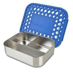 SS Lunchbot Trio Blue : These Stainless Steel Food Containers feature three compartments for balanced snacks