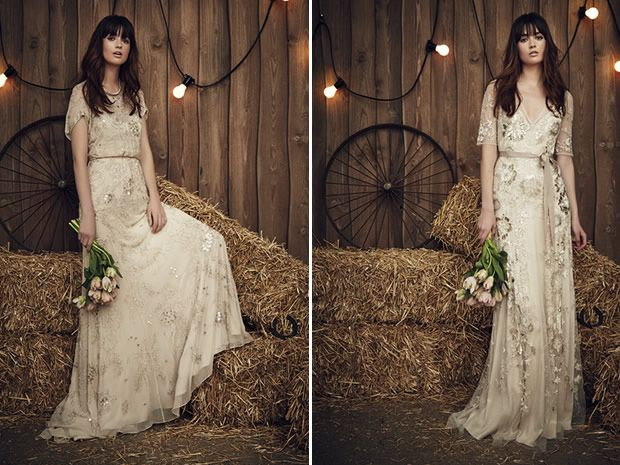 The Blossom and Faith gowns from Jenny Packham's 2017 collection are a lovely choice for brides who don't want to wear white. #weddingdresses #alternativeweddingdresses #bohobrides #bridalstyle