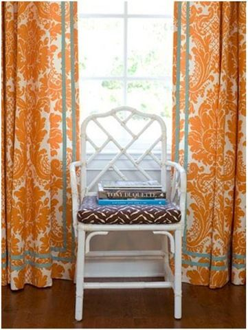 palmer weiss orange and teal - I like the trim on these drapes