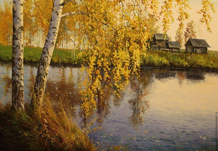 """Купить Картина маслом """"Дыхание осени"""" - озеро, осенний, береза, березки, листопад, масло, подарок"""