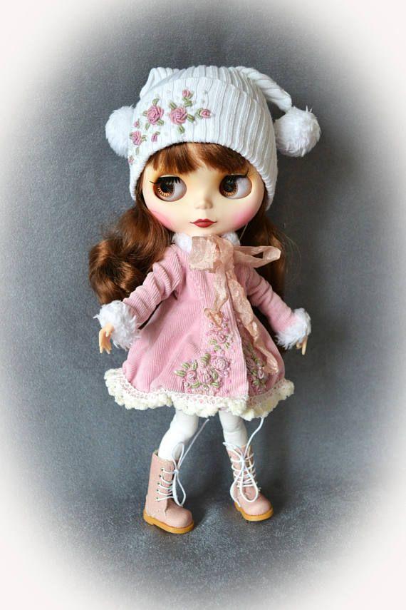 Winter rose. Set for Blythe. for Blythe/Pullip  dolls clothes.