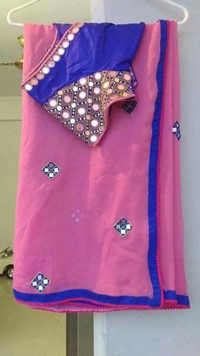 mirror work saree n blouse