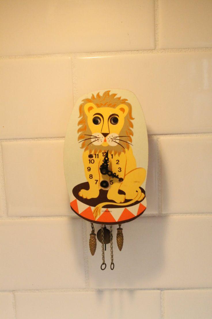 Lion Clock, Cuckoo Clock,  German Cuckoo Clock, Wood Clock, by ClockworkRummage on Etsy