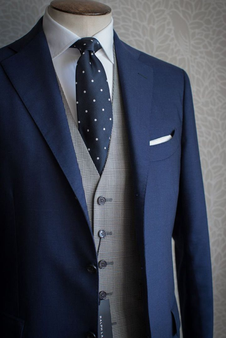 Mens blue suit wedding