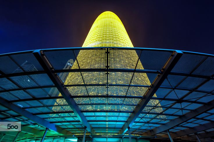 Qatar Tower in Doha. Whenever I see it lit like this, it reminds me of a steel lilly!