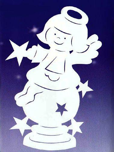 Веселый АНГЕЛ и ЗВЕЗДЫ - УКРАШЕНИЯ-подвески из бумаги на окна, для комнаты, класса, зала к Рождеству, Новому году