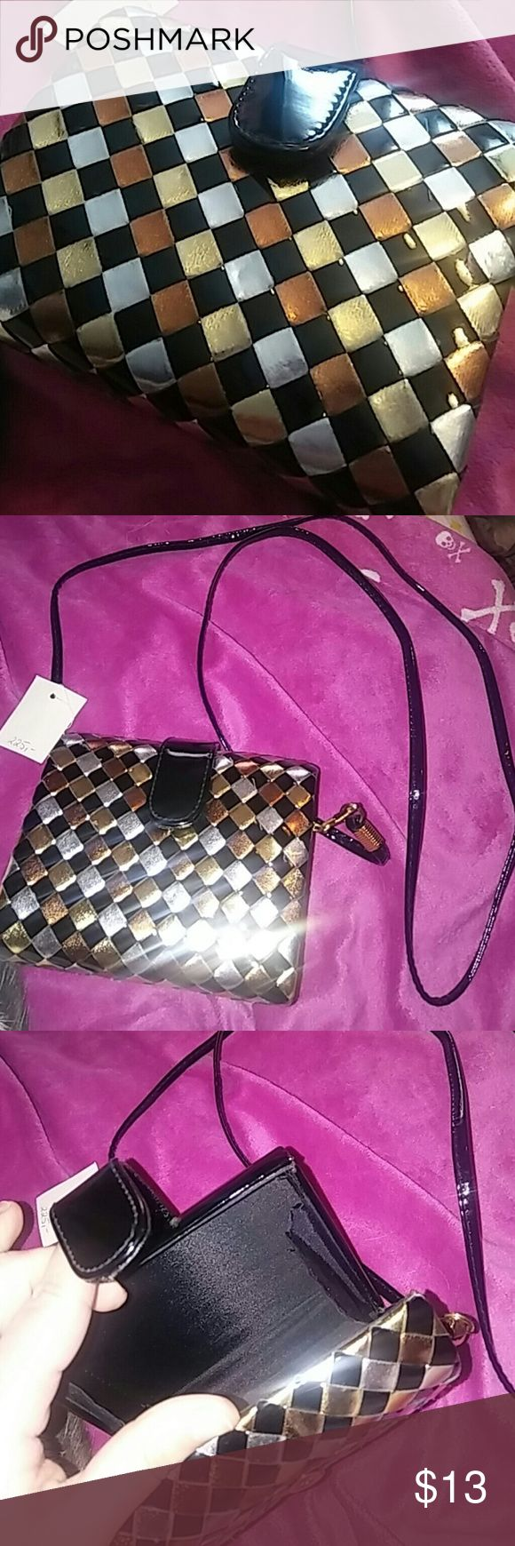 Vintage NWT Metallic Faux Leather Evening Bag Vintage/retro metallic faux leather bag. Small with a long removable strap. Mostly black with gold, bronze, and silver on front. New with tags. Vintage Bags Mini Bags