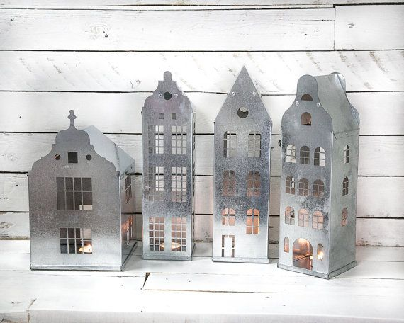 Candle holders Tin houses SET of 4 tin houses with industrial nordic styling for your home weddings christmas or theme parties on Etsy, $149.00
