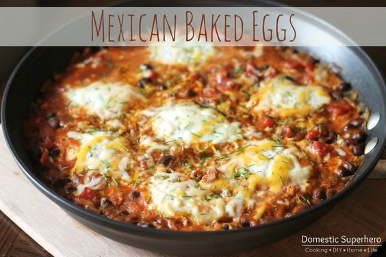 Mexican Baked Eggs - this is a one skillet recipe that is great for breakfast, brunch, lunch, or dinner! So delicious!