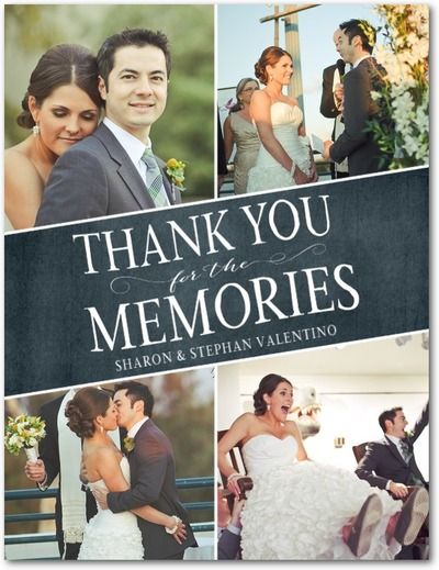 Touching Memories - Signature White Photo Thank You Cards - Magnolia Press - Slate - Gray : Front