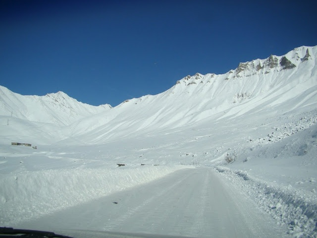 on the top of the snowy mountains on the way from Georgia to N.Ossetia