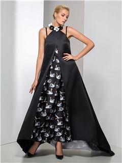 ジュエルネックラインフラワーA-ラインロングイブニングドレス