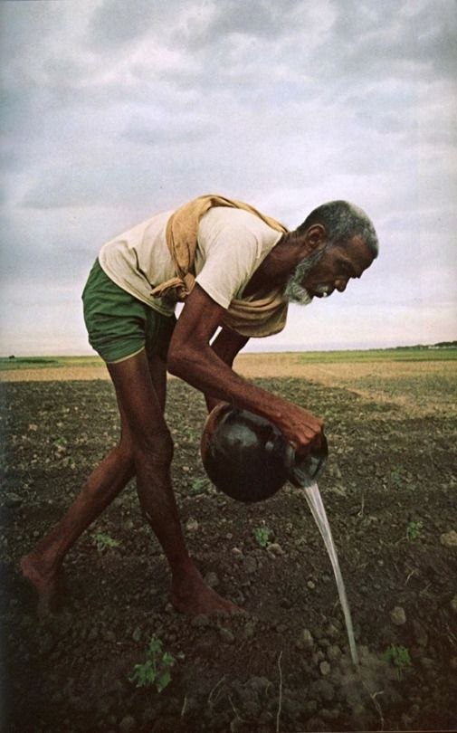 A farmer watering plants in the newly independent Bangladesh. Boliarpur, Aminbazar, Dhaka (1972)
