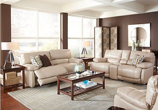 Picture Of Cindy Crawford Auburn Hills Taupe 3pc Reclining Living Room From Living Room Sets