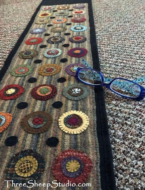 Wool Penny Rug by Rose Clay at ThreeSheepStudio.com