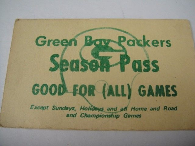 VINTAGE Green Bay Packers Season Pass Vince Lombardi NFL ticket stub  | eBay