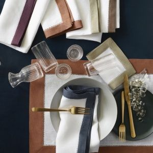 SFERRA Filetto European-woven linens come in 19 colors of dinner and cocktail napkins as well as placemats.