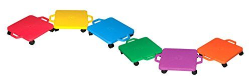 Cosom 12 Inch Plastic Childrens Scooter Board With 2 Inch NonMarring Nylon Casters and Safety Guards for Physical Education Class with Safety Handles Sitting Scooter Board Assorted Color -- More info could be found at the image url.