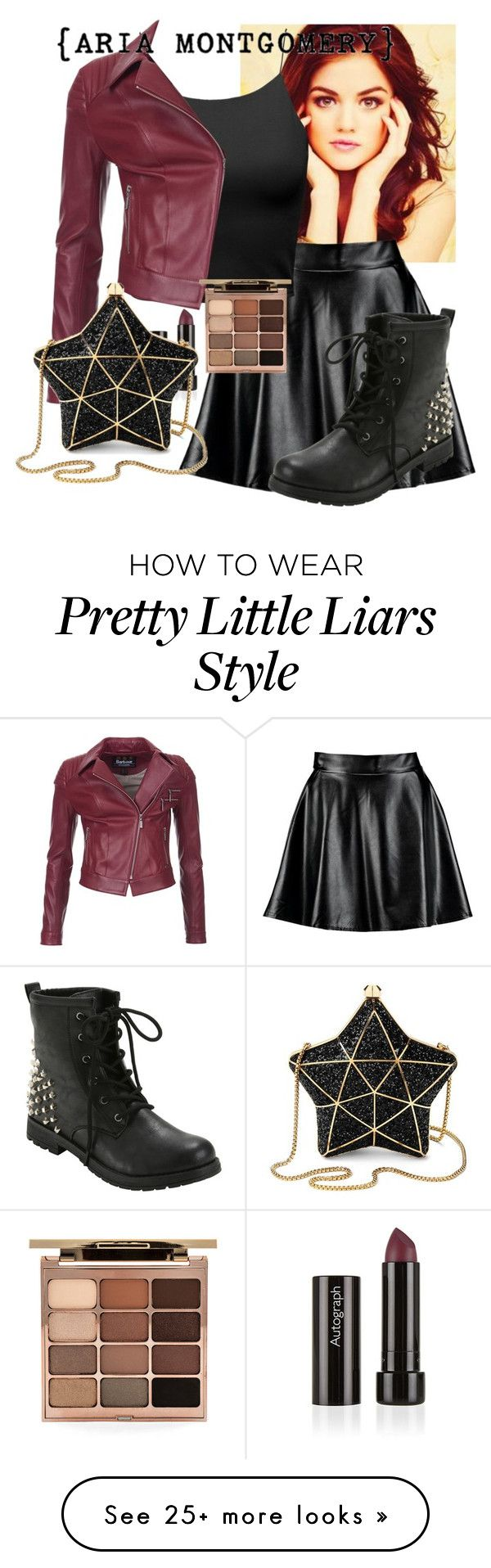 """Aria - Pretty Little Liars"" by redheadflash on Polyvore featuring Boohoo, Barbour International, Aspinal of London and Stila"