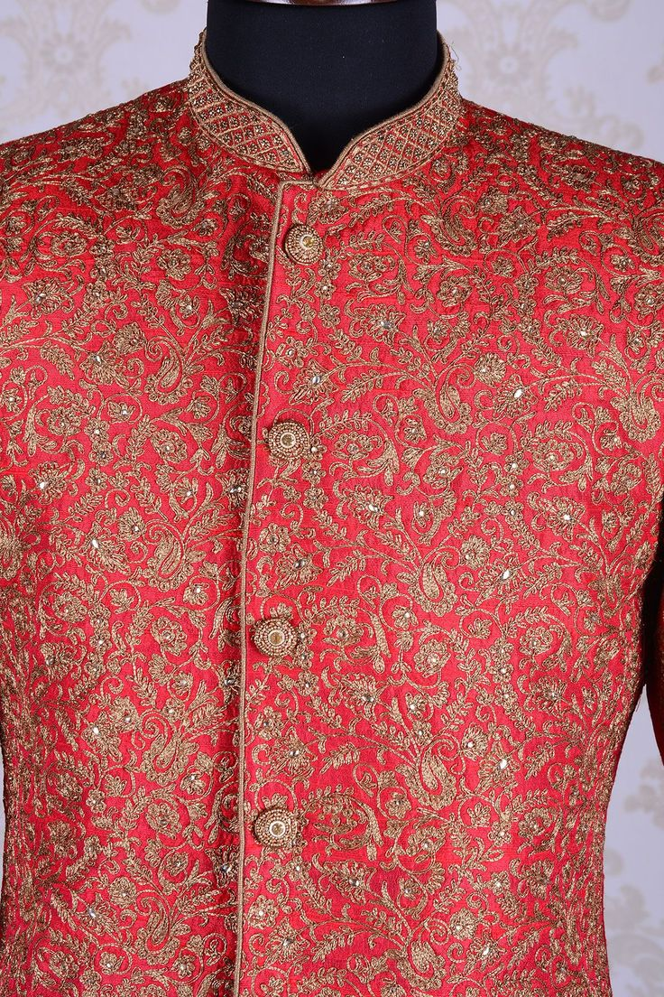 Indowestern Sherwani-Red & Gold-Zari Work-IW683