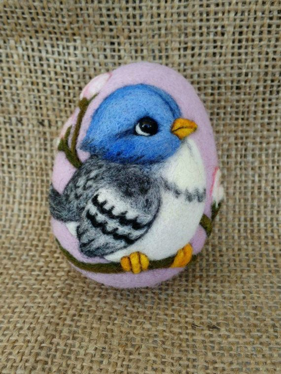 Animal felt Needle felted Egg Felt Birdfelted by TuttiQuiltStudio