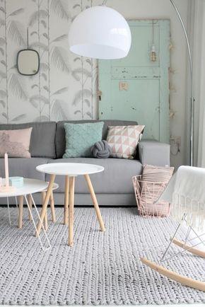 #deco #alfombra #lana #verde #rosa #gris #salón