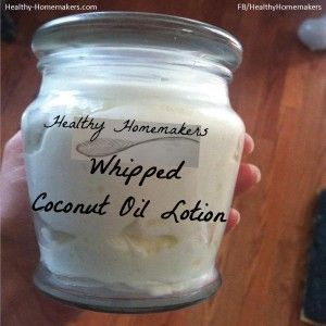 DIY organic Homemade whipped coconut oil body lotion by Healthy Homemakers (with olive oil, bentonite clay, aloe Vera gel).