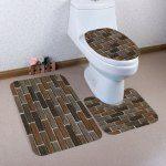 Brick Wall Pattern 3 Pcs Flannel Bathroom Toilet Mat - Dun