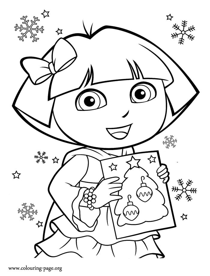 10 best Christmas Party images on Pinterest Creative, Happy and La - new dora christmas coloring pages free printable