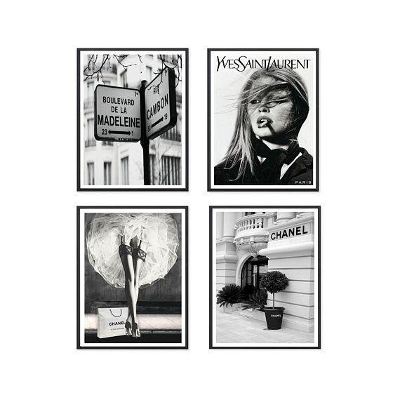Chanel Prints Fashion Wall Art Set Prints Paris Gallery Fashion Wall Art Black And White Wall Art Black And White Posters