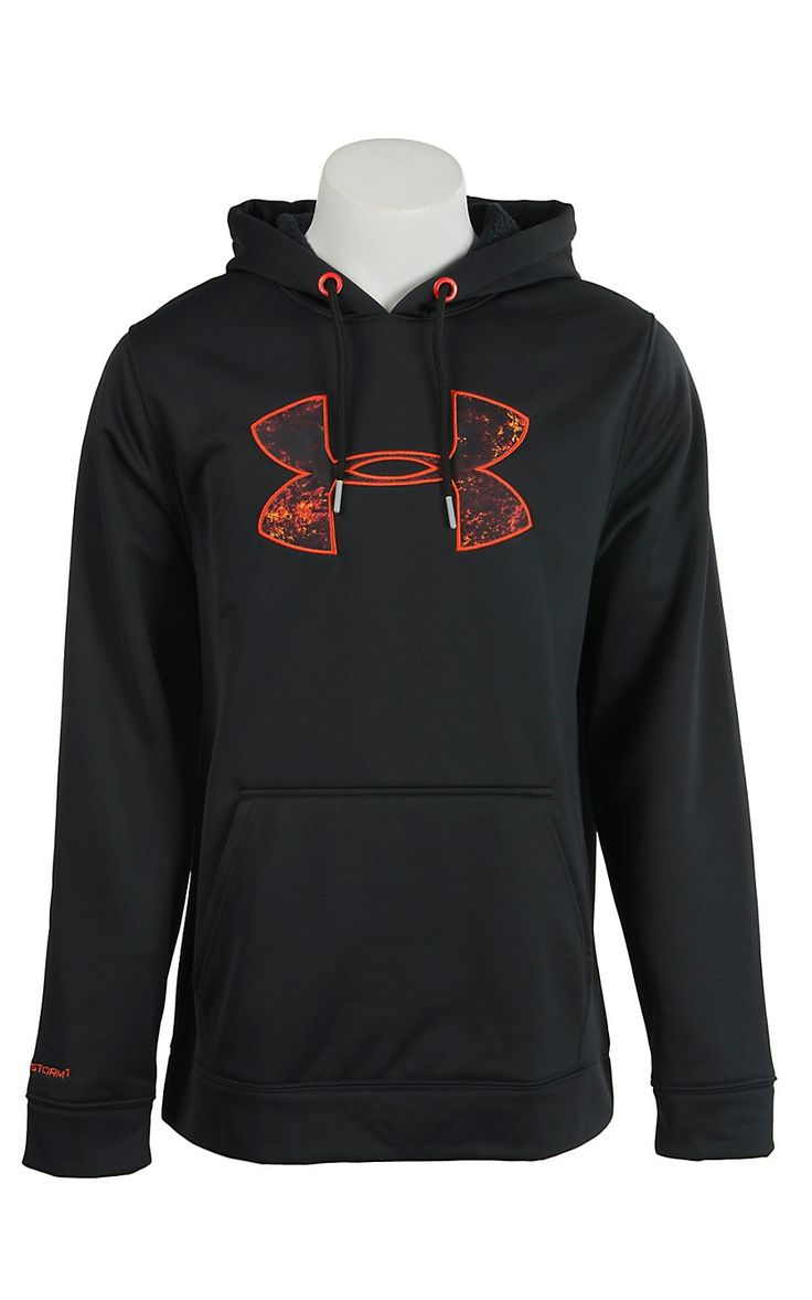 black and orange under armour hoodie