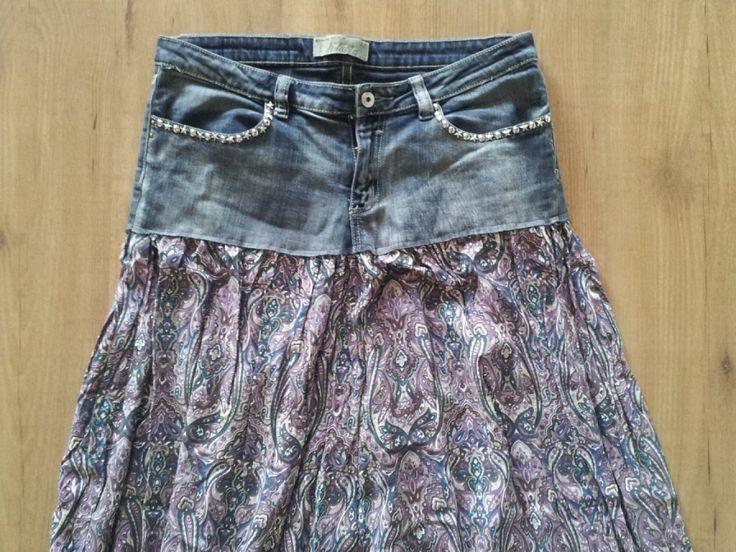 Reciclando prendas: Cómo combinar un tejano y una falda | Aprender manualidades es facilisimo.com