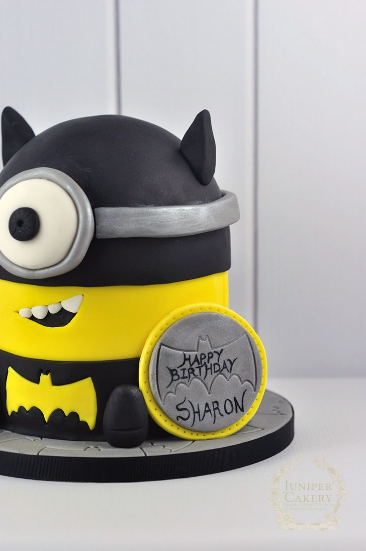 Look at this super fun Batman themed Minion cake that we created; perfect for parties and birthdays!