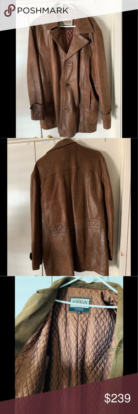 Wilsons Leather brown jacket w/ rabbit fur lining