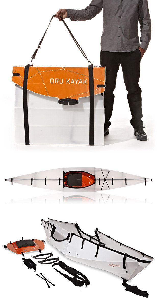 Oru Kayak - It's a full-size 12-foot long kayak that packs down to a very portable size allowing you to check it on a flight, stow it in the trunk of your car, even backpack it into remote mountain waters.  Priced at $ 800.