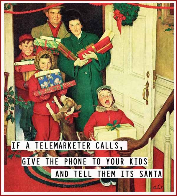 If a telemarketer calls, give the phone to your kids and tell them it's Santa.