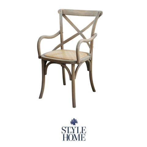 'DAVID' Carver Chair with padded Linen Seat