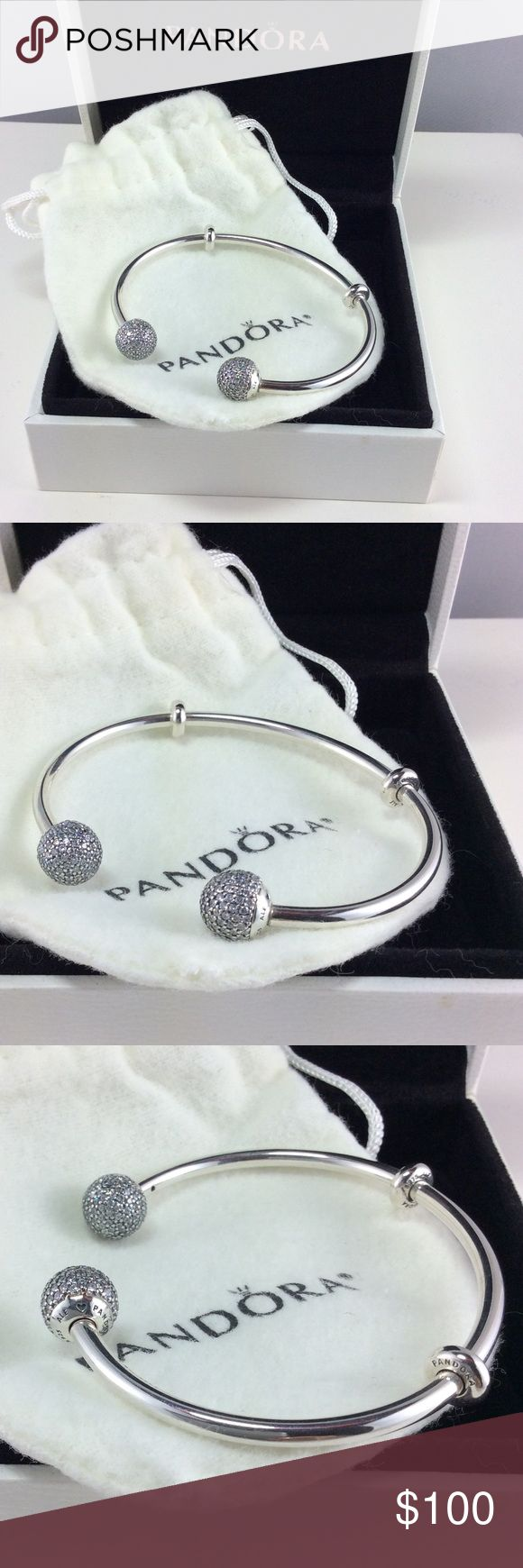New Pandora Open Sparkling Bangle Size 3 This sparkling open bangle in sterling silver comes with two stoppers with silicone grips and end caps embellished with pave-set cubic zirconia stones. Add your favorite charms for a unique look and it's the perfect bracelet for glamorous and playful stylings.  100% Authentic Pandora Sparkling Open Bangle   Condition: New  Signature Markings ALE S925  PRICE IS FIRM UNLESS BUNDLED  ⚫️NOT ACCEPTING LOWBALL OFFERS!!! NO TRADES‼️‼️‼️  Add charm box to any…